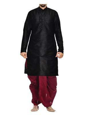 Black Plain Raw Silk Dhoti Kurta