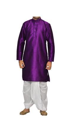 Purple Plain Raw Silk Dhoti Kurta