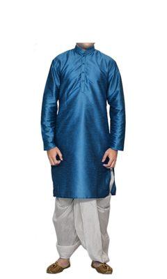 Turquoise Plain Raw Silk Dhoti Kurta