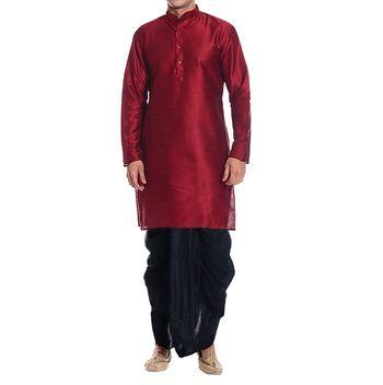 Red Plain Raw Silk Dhoti Kurta