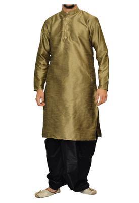 Beige Plain Raw Silk Dhoti Kurta