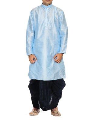Blue Plain Raw Silk Dhoti Kurta