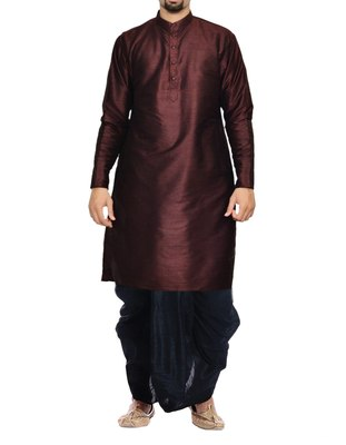 Violet Plain Raw Silk Dhoti Kurta