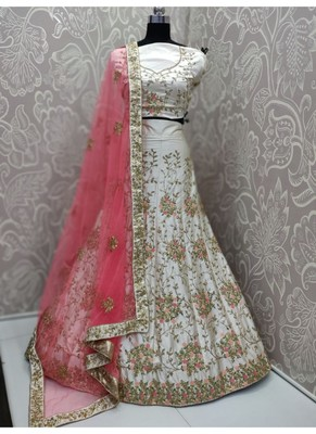 Bone White Paper silk Embroidary Semi Stitched Lehenga with Blouse