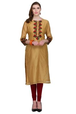 Beige embroidered cotton silk long kurtis