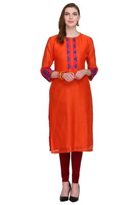 Orange Embroidered Chanderi Long Kurtis