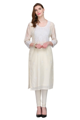 White Embroidered Chanderi Long Kurtis