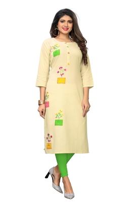 Off-white embroidered cotton kurti