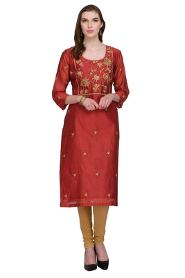 Red Embroidered Chanderi Long Kurtis
