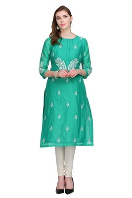 Turquoise Embroidered Chanderi Long Kurtis