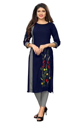 Navy-blue embroidered rayon kurti