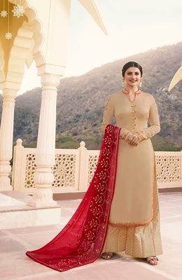 Beige embroidered georgette salwar with dupatta
