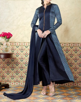 Blue embroidered satin salwar with dupatta
