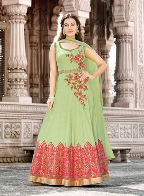 Sea-green embroidered cotton salwar with dupatta