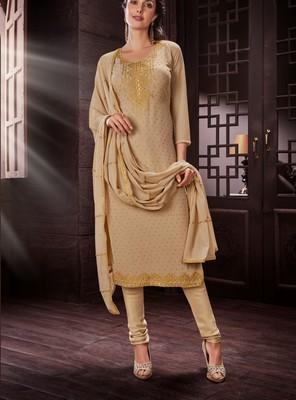 Beige embroidered georgette salwar with dupatta