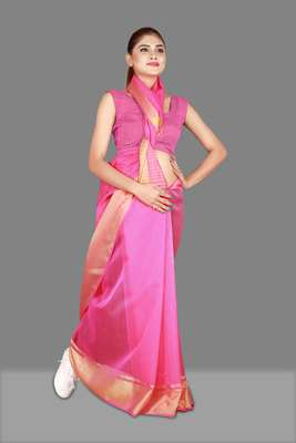 Pink woven poly cotton saree with blouse