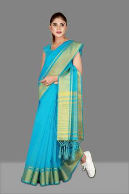 Blue woven poly cotton saree with blouse