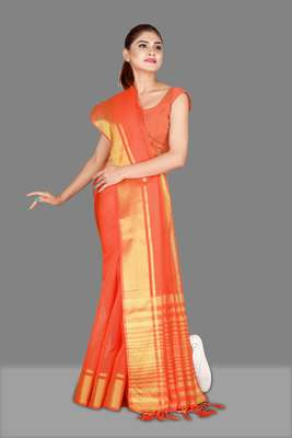 Orange woven poly cotton saree with blouse