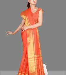 Orange woven poly cotton saree with blouse