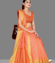 Peach woven poly cotton saree with blouse