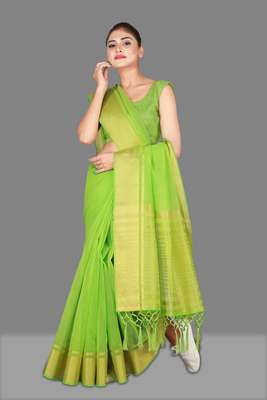 Pista woven poly cotton saree with blouse