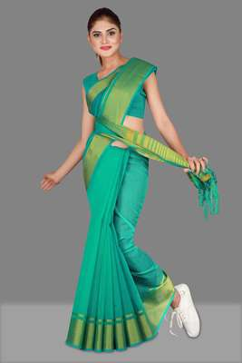 Turquoise woven poly cotton saree with blouse