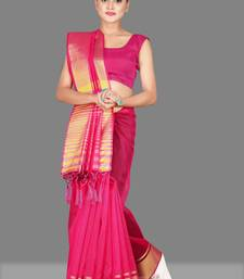 Rani Pink woven poly cotton saree with blouse