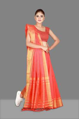 Coral woven poly cotton saree with blouse