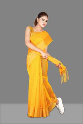 Yellow woven poly cotton saree with blouse