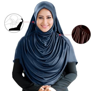Grey Poly Cotton Ready To Wear Islamic Hijab