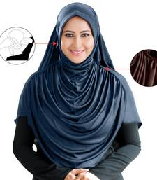 Grey Poly Cotton Ready To Wear Islamic Hijab