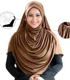Dark Wheat Poly Cotton Ready To Wear Islamic Hijab