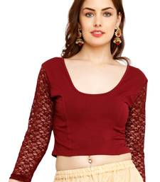 Maroon Cotton Lycra Solid stitched blouse readymade-blouse
