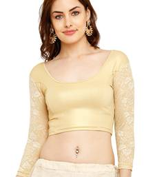 Gold Cotton Lycra Solid stitched blouse
