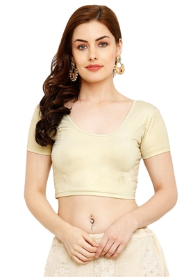 Light Gold Cotton Lycra Solid Stitched Blouse