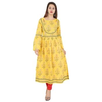 Yellow printed cotton kurti