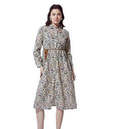 BKind Beige Cotton Full Sleeved Dress for Women