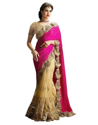 Pink embroidered velvet saree with blouse