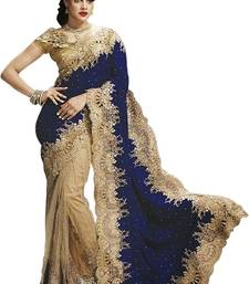 Blue embroidered velvet saree with blouse
