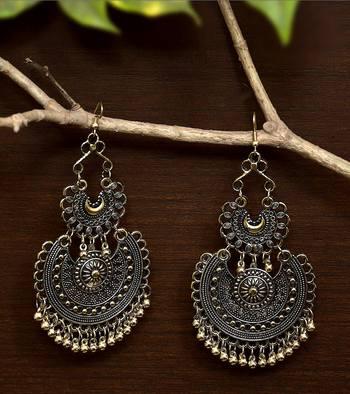 Dangler Black Gold Oxidised Afghani Style Double Chandbali Earrings