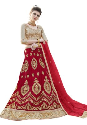 Red Embroidered Net Semi Stitched Lehenga With Duaptta
