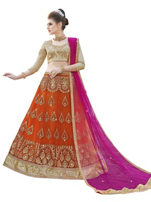 Orange embroidered net semi stitched lehenga with duaptta