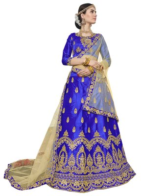 Blue Embroidered Silk Semi Stitched Lehenga With Duaptta