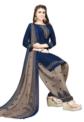 Navy-blue floral print synthetic salwar with dupatta
