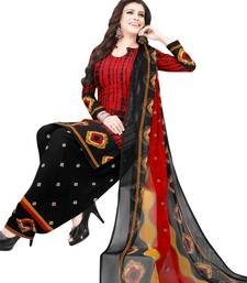 Red self design synthetic salwar with dupatta