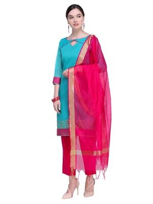 Inddus Pink Cotton Solid Dupatta