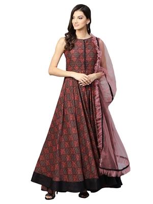 Inddus Pink Net Solid Dupatta