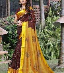 Mustard printed soft kota saree with satin border