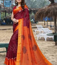 Maroon printed soft kota saree with satin border