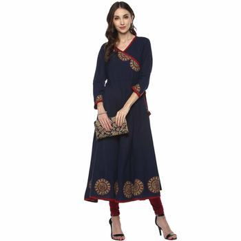 Neavy Blue Colour Cotton Kurti With Latkan And Printed Cut